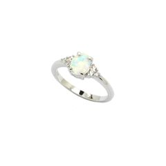925 SILVER CABOCHON OVAL OPAL RING,11078-K17
