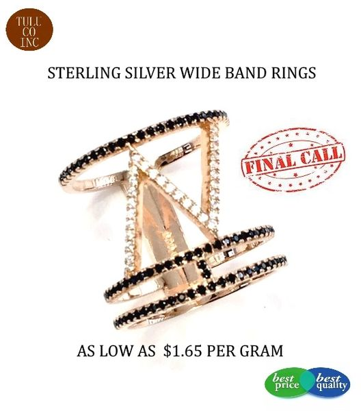 925 SILVER LONG FINGER RINGS- 11CZ37-RH