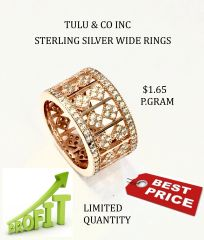 925 SILVER WIDE BAND RING , CUBE DESIGN - 11CZ31-RS