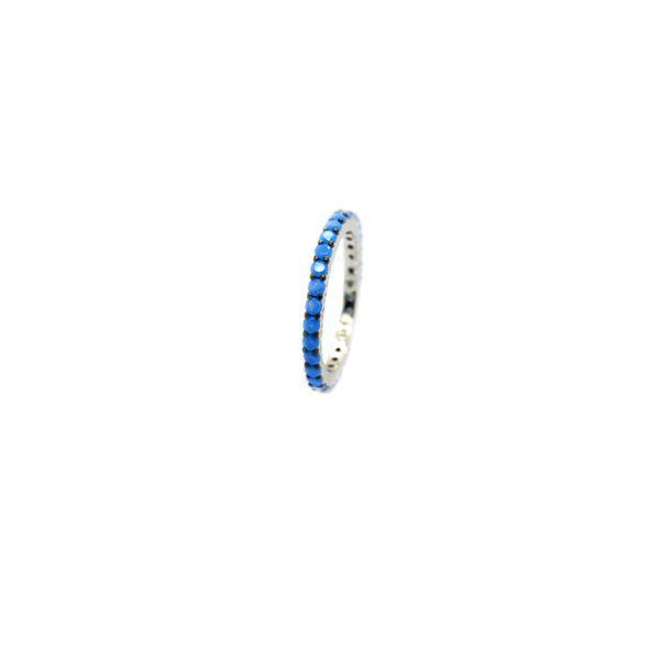 925 SILVER NANO TURQUISE ETERNITY BAND RINGS,11055-TQ