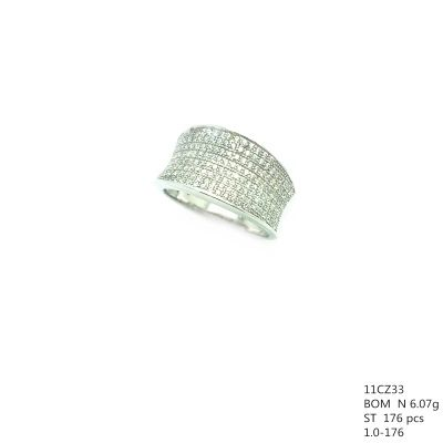 925 STERLING SILVER MICRO SETTING CZ WIDE RING , 11CZ33