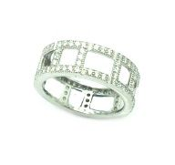 925 STERLING SILVER MICRO SETTING CZ CHANNELS RING , 11CZ36-WH