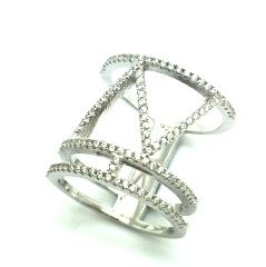 925 STERLING SILVER MICRO SETTING CZ CIGAR BAND RING , 11CZ37-WH