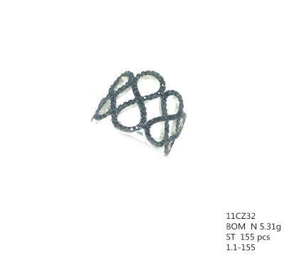 925 STERLING SILVER MICRO SETTING CZ MULTI INFINITY RING , 11CZ32-BK