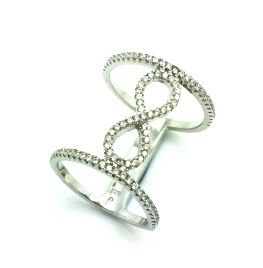 925 STERLING SILVER MICRO SETTING CZ RING,INFINITY CIGAR BAND,11CZ46-WH