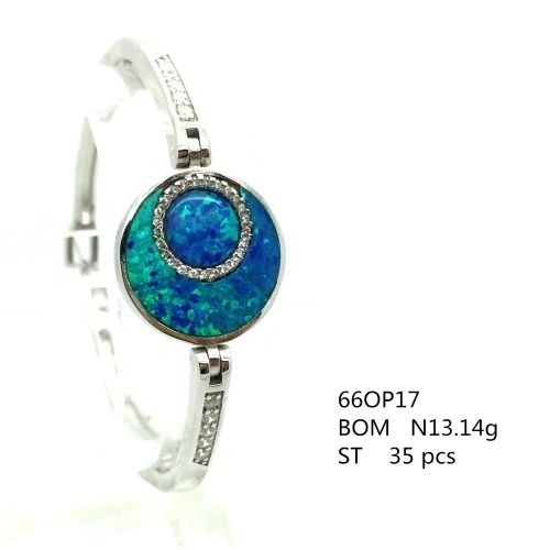 925 SILVER LAB BLUE OPAL ROUND STONE BANGLE