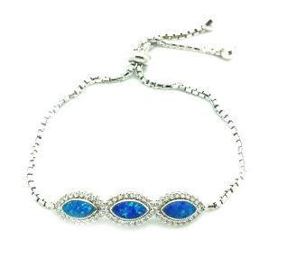 925 SILVER LAB BLUE OPAL OVAL SHAPE ADJUSTABLE BRACELET#66CZ23-OP