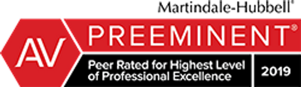 Martindale-Hubbell Preeminent - Peer Rated for Highest Level of Professional Excellence 2019
