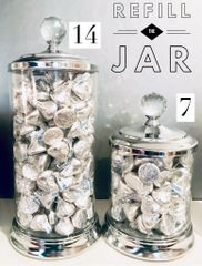 7' Glass Candy Jar w Crystal Knob and Hershey Kisses