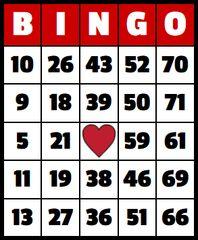 ONE BINGO BOARD FOR BINGO OR BUY EXTRAVAGANZA ON 2/8 AT 8:30