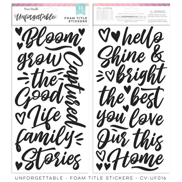 Cocoa Vanilla Studio Unforgettable Foam Title Stickers