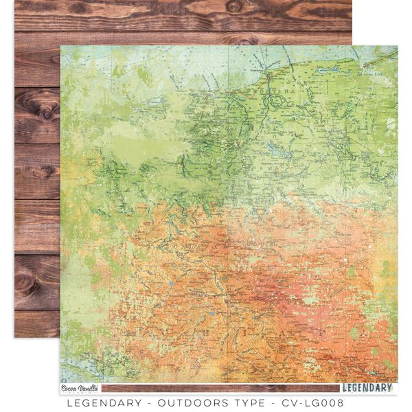 COCOA VANILLA STUDIO LEGENDARY OUTDOORS TYPE 12 X 12 CARDSTOCK