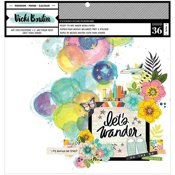 American Crafts Vicki Boutin Let's Wander 12 x 12 Paper Pad - Mixed Media with Foil Accents