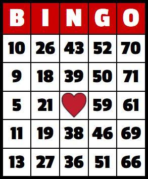 ONE BINGO BOARD FOR BINGO OR BUY EXTRAVAGANZA ON 3/27/20 AT 8:30