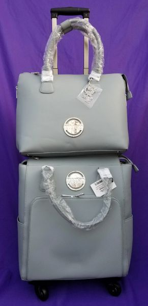 Nuvo Luxury Storage Handbag & Roller Luggage Set Balmoral Blue