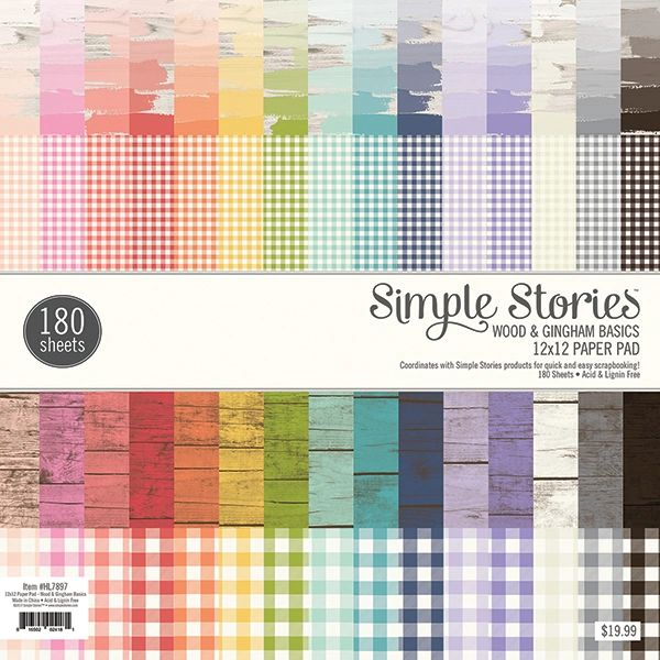 Simple Stories Wood & Gingham Basics 12 x 12 Paper Pad