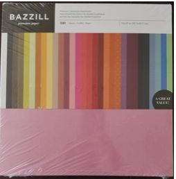 Bazzill 12 x 12 Cardstock Pack Assorted Colors 100 sheets