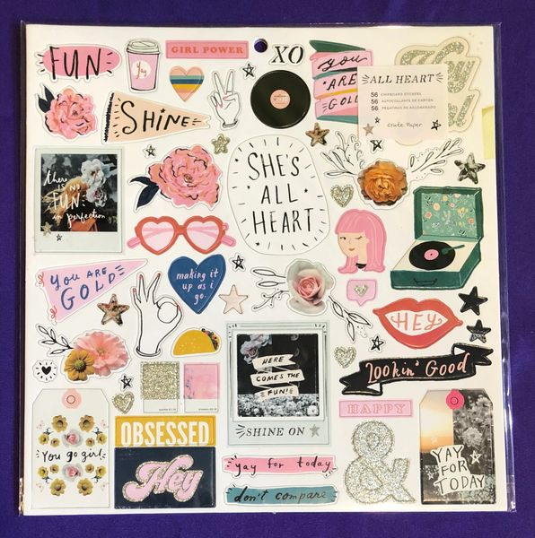 Crate Paper All Heart 12 x 12 Chipboard Stickers