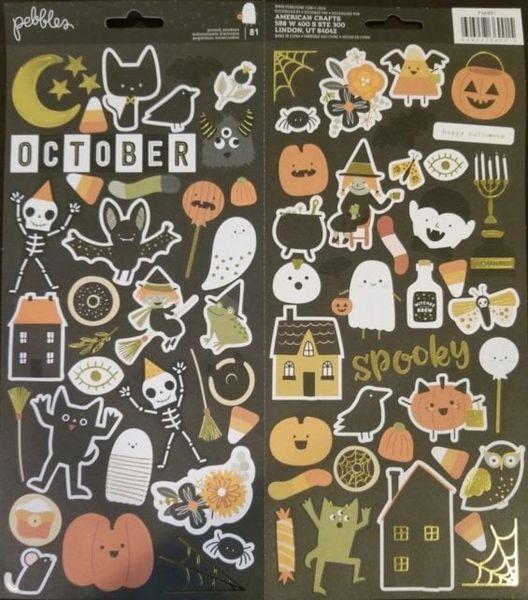 Pebbles Spooky Gold Foil 6 x 12 Stickers