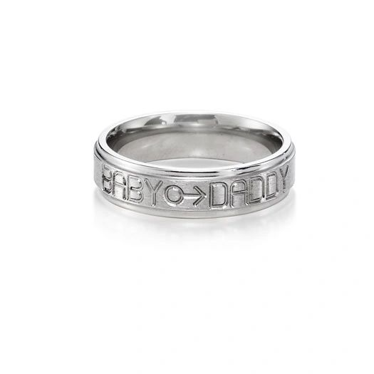 Babydaddy titanium ring 6mm flat groove with gender symbol