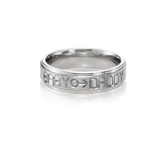 Babydaddy titanium ring 6mm flat groove with gender symbol