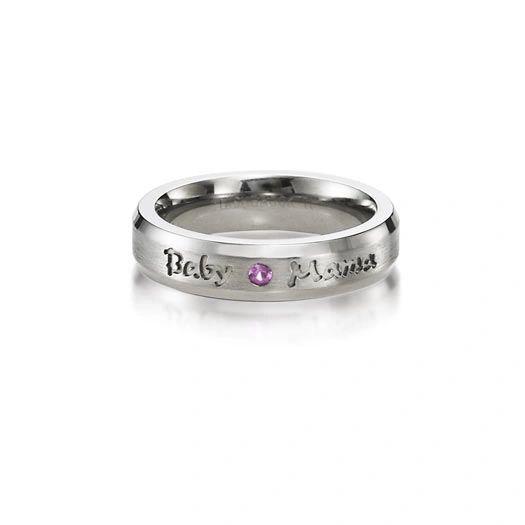 Babymama 5mm titanium ring beveled flush set .03 pink sapphire