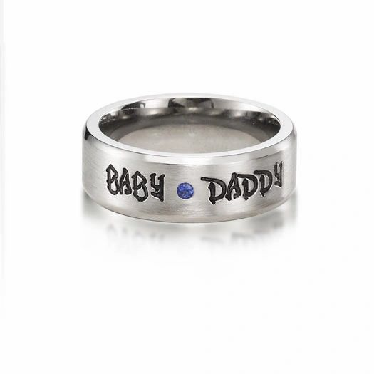 Babydaddy 8mm titanium ring beveled flush set .03 sapphire