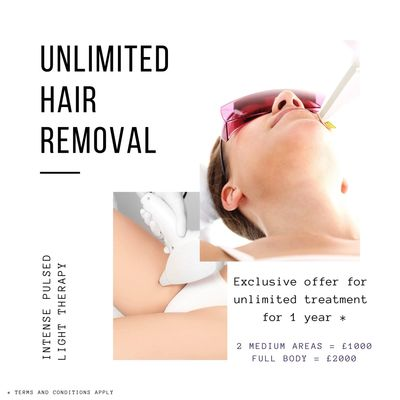 IPL for permanent hair removal, skin rejuvenation, acne scarring, pigmentation, thread veins.