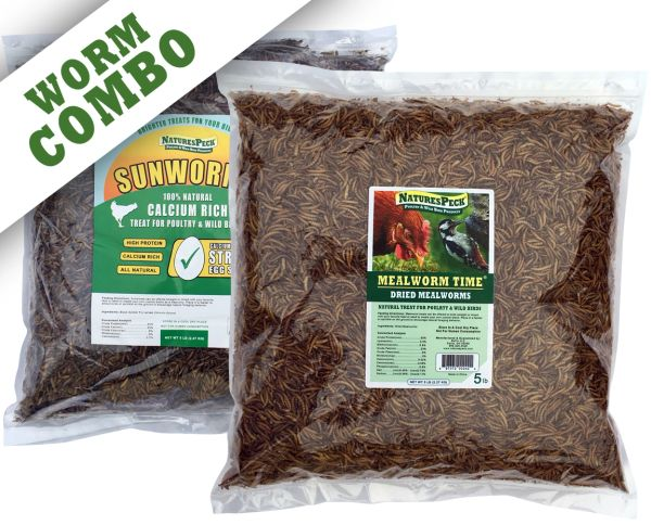 Worm Combo -10 lbs (5 lb Mealworms & 5 lb (Sunworms)Black Soldier fly larvae