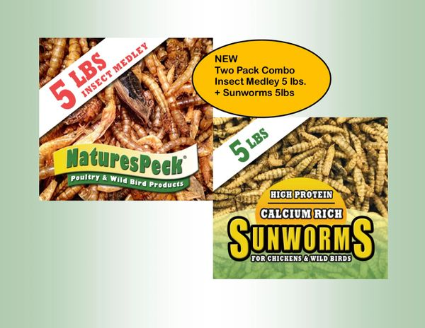 Insect Medley (5 lbs) & Sunworm (5lbs) Two Pack Combo -Ship May 28th