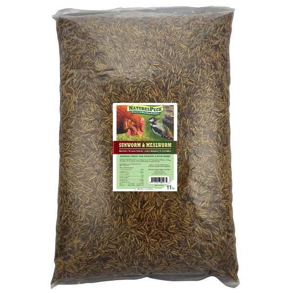 BLEND of Dried Mealworms and Dried Black Soldier fly Larvae(Sunworms™) 11 lbs. or 15 lbs. bag.