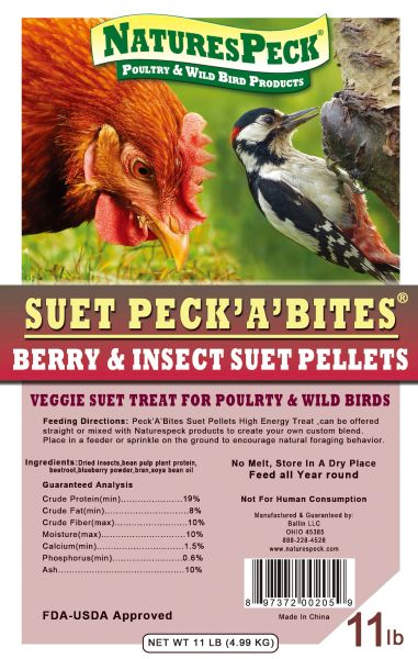 NEW for Poultry Peck 'A' Bites MIX- Berry & Insects Suet Pellets (Veggie suet)