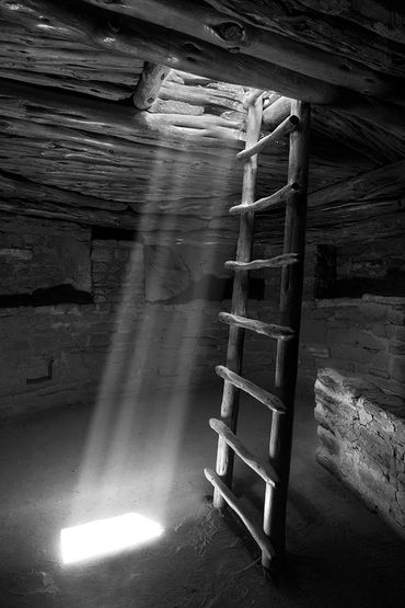 black and white photography,  Gerald Hill photography, kiva, mesa verde, old ruins, spruce tree hs