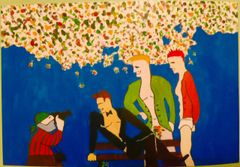 """""""Paparazzi with Male Models""""-Donated/Not for sale, but artist may be commissioned"""