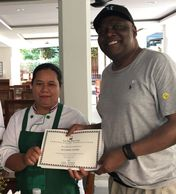 Alphonso's Certificate for Thai Cooking Class in Bangkok, Thailand.