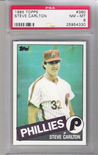 1985 Steve Carlton PHILLIES PSA 8