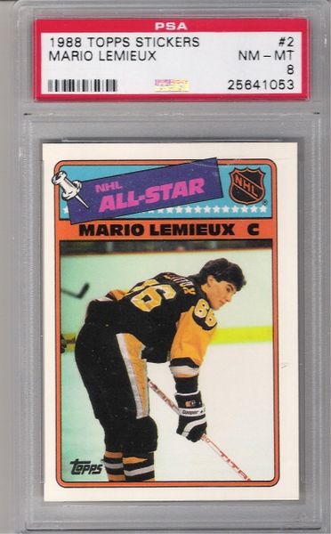 1988 Mario Lemieux Topps Stickers #2 Penguins PSA 8