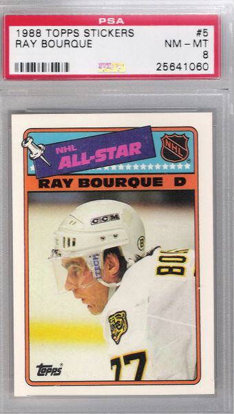 1988 Topps Ray Bourque Topps Stickers #5 Bruins PSA 8