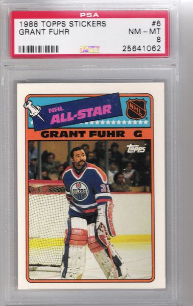 1988 Grant FUHR Topps Stickers #6 OILERS PSA 8