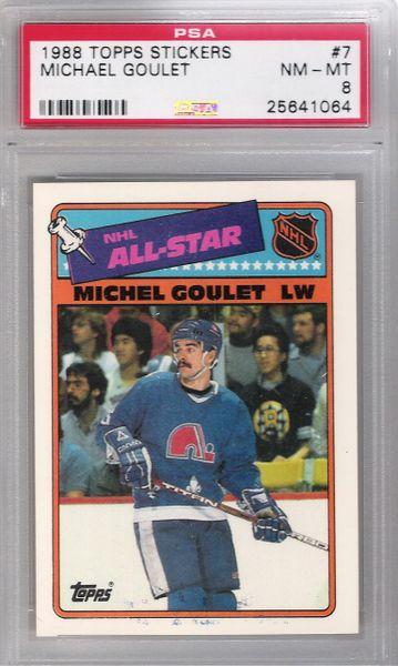 1988 Michael Goulet Topps Stickers #7 Nordiques PSA 8
