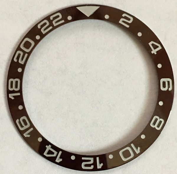 ROLEX INSERT CERAMIC FOR GMT IN BROWN WITH SILVERED NUMERALS