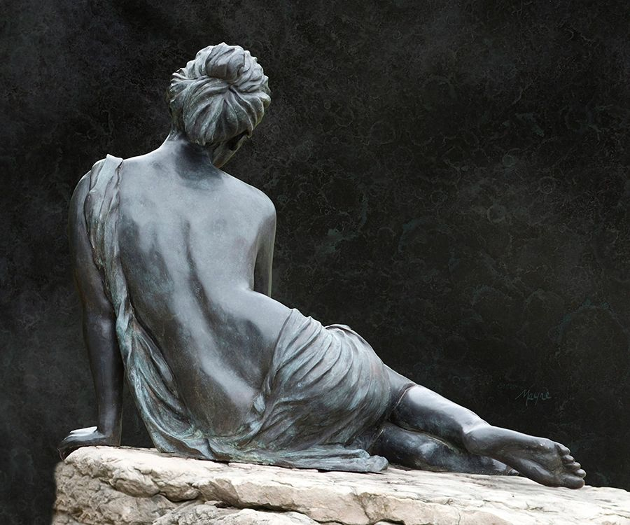 Adamaris, Seated, bronze, female figure (back) by Donna Jean Mayne
