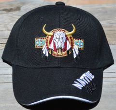 Ball Cap with Native American Design featuring Native Pride Lettering and Buffalo