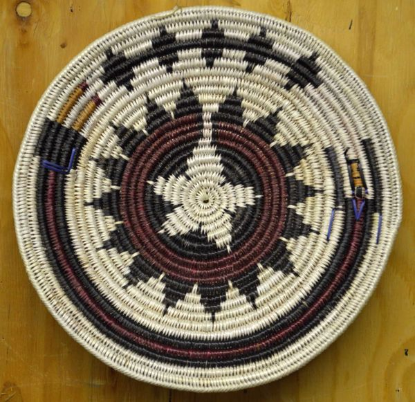 Hand Woven Navajo Coil Yei Basket by Chad Black Duck