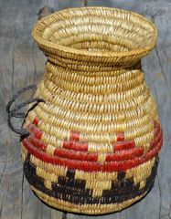 Hand Woven Navajo Water Jug (Red over Black) by Rose Lyn Bates