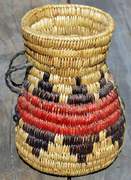 Hand Woven Navajo Water Jug (Red Band) by Rose Lyn Bates