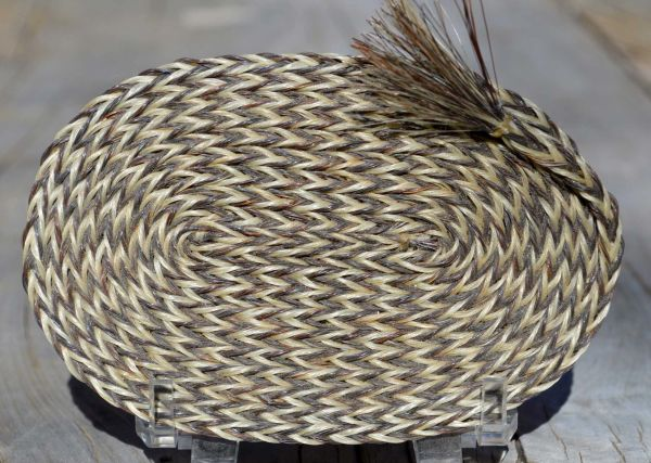Small Flat Oval Horsehair Braided Basket by David Bendiola