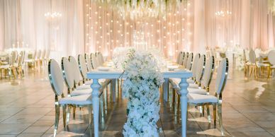 weddings wedding inspiration white drapery chandeliers magical fairy lights lighting design