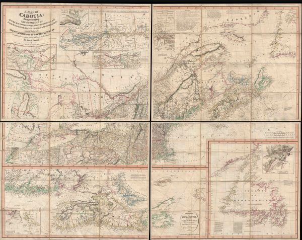 A map of Cabotia; Comprehending the Provinces of Upper and Lower Canada, New-Brunswick, and Nova-Scotia, with Breton Island, Newfoundland, & c. And Including also The Adjacents Parts of the United States...