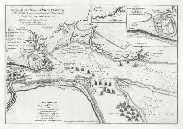 An Authentic Plan of the River St.Laurence from Sillery, to the Fall of Montmorenci, with the Operations of the Siege of Quebec under the Command of Vice-Adml. Saunders & Major General James Wolfe down to the 5. Sepr. 1759